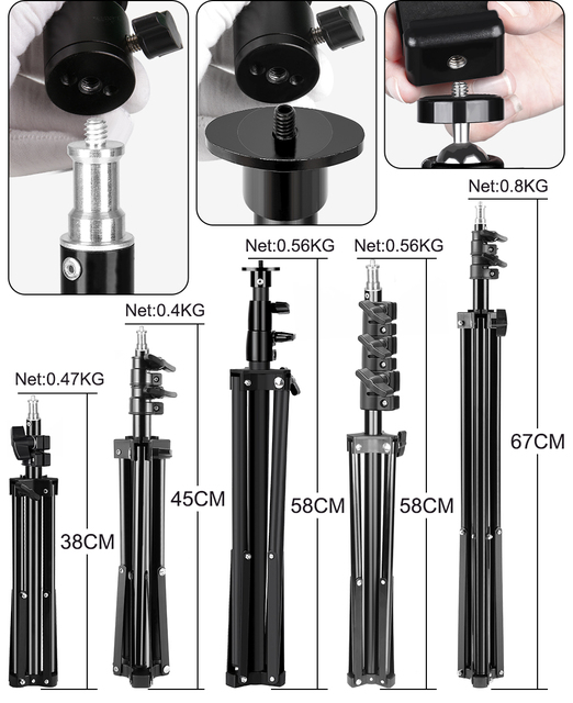 Tripod For Phone Tripod Stand Ring Light  1/4 Screw Head Flexible Selfie With Bluetooth Remote Control  Holder For Phone 5