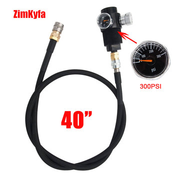Airsoft Regulator with 100cm SLP FLEX Remote Hose Line 0~200psi Gauge to Paintball HPA Co2 Tank Cylinder