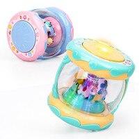 LED Muziek Vroege Educatief speelgoed Learning Developmental Baby Rammelaars Grappige Kinderen Baby Speelgoed Carrousel Musical Hand Drum Beat 5