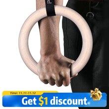Procircle anneaux de gymnastique en bois de 28/32mm avec sangles réglables, longues boucles, entraînement pour la gymnastique à la maison et la croix