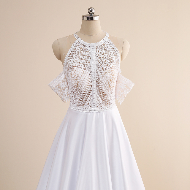 Simple A-Line Wedding Dresses Sexy Illusion O Neck Off Shoulder Button Cut-Out Lace Appliqued New 2021 Long Bridal Gowns Custom 6
