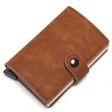 2021 titular do cartão de crédito carteira de metal rfid do vintage de alumínio crazy horse couro banco caso com moeda bolsa