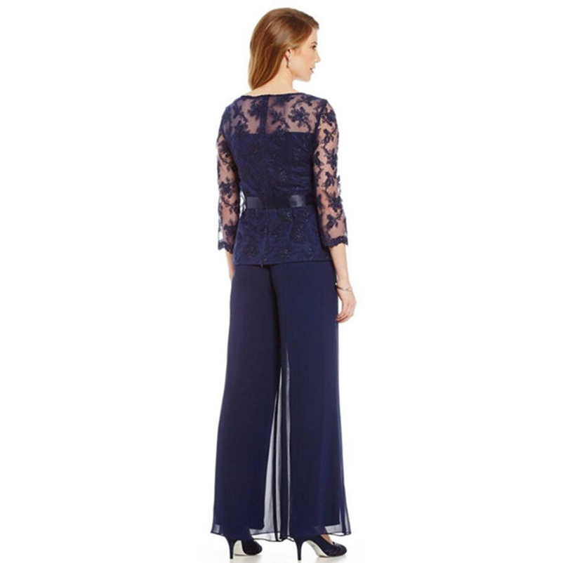 Elegant Navy Blue Mother Of The Bride Dresses Chiffon Pants Suits Lace Top Sheer Jewel Neck Ribbon Belt 3/4 Long Sleeves