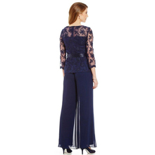 Elegant Navy Blue Mother Of The Bride Dresses Chiffon Pants Suits Lace Top Sheer Jewel Neck Ribbon Belt 3/4 Long Sleeves navy blue velvet square neck lace hem cami top