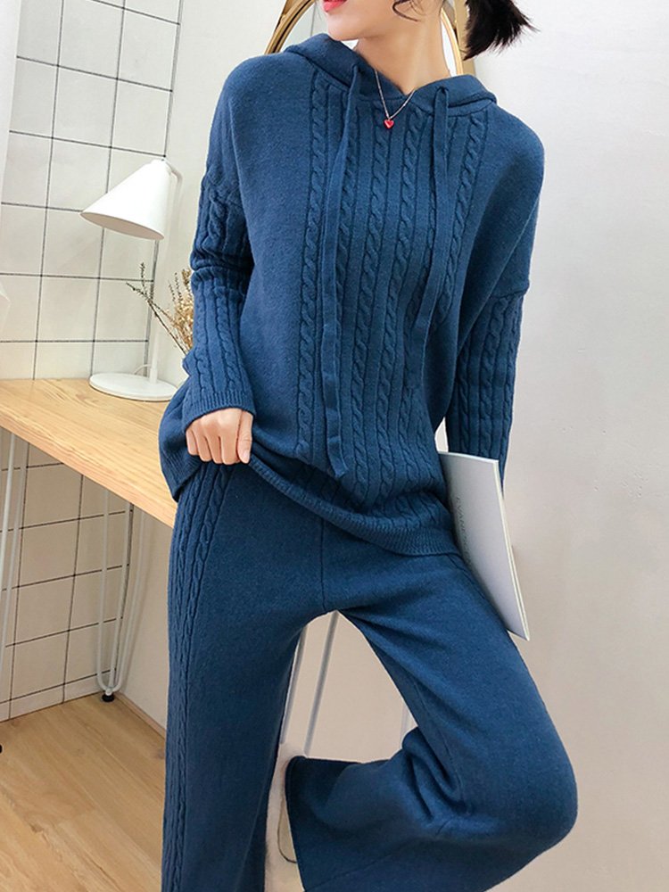Tracksuits Hooded Top Fashion New Waist Knitted Sweater + Wide Leg Pants Two-piece 2019 Autumn And Winter Lazy Wind Set Woman
