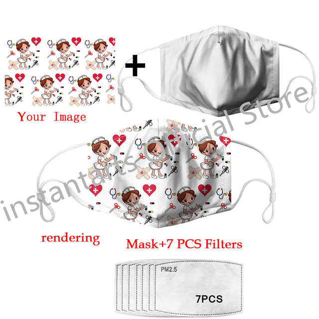 NOISYDESIGNS Cotton Pink Mask Mouth Face Mask 7 Filters PM2.5 Anti Dust Mouth-muffle Bacteria Proof Flu Face Masks Mascarillas 2