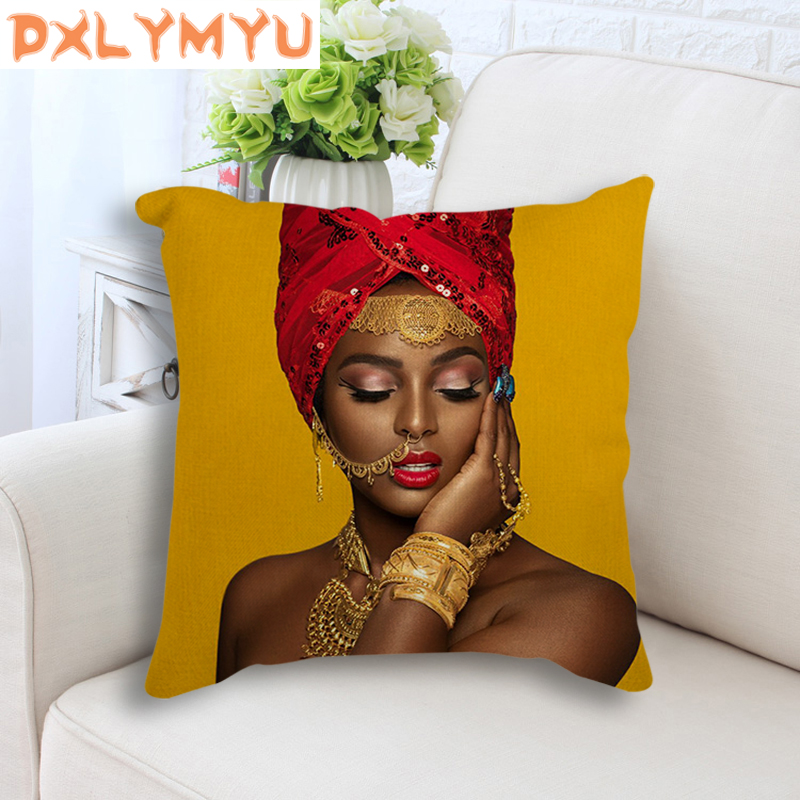 Throw Pillow Case African Art Cushion Covers Woman Portrait Print Pillowcase Linen Cotton Cushion Cover For Sofa Home Decor