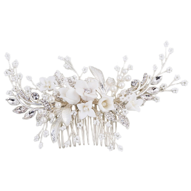 Stunning Floral Headpiece Bridal Silver Hair Comb Piece Pearls Women Prom Hair Jewelry Wedding Accessories