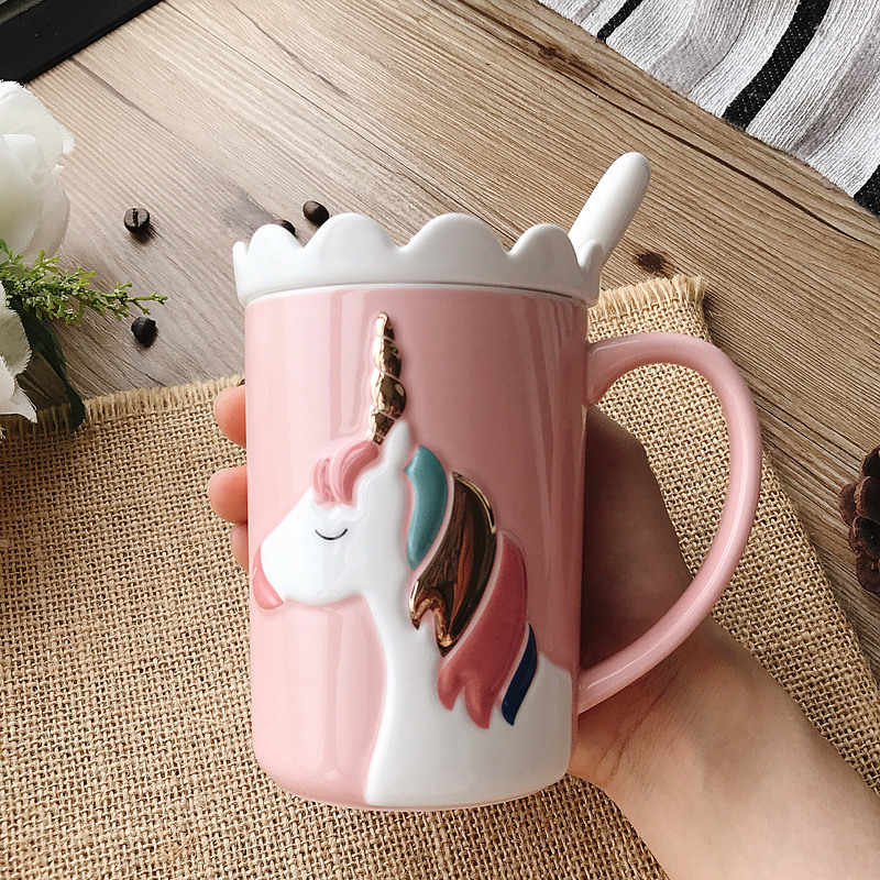 3D Creative cute unicorn mug Korean version with lid spoon crown ...
