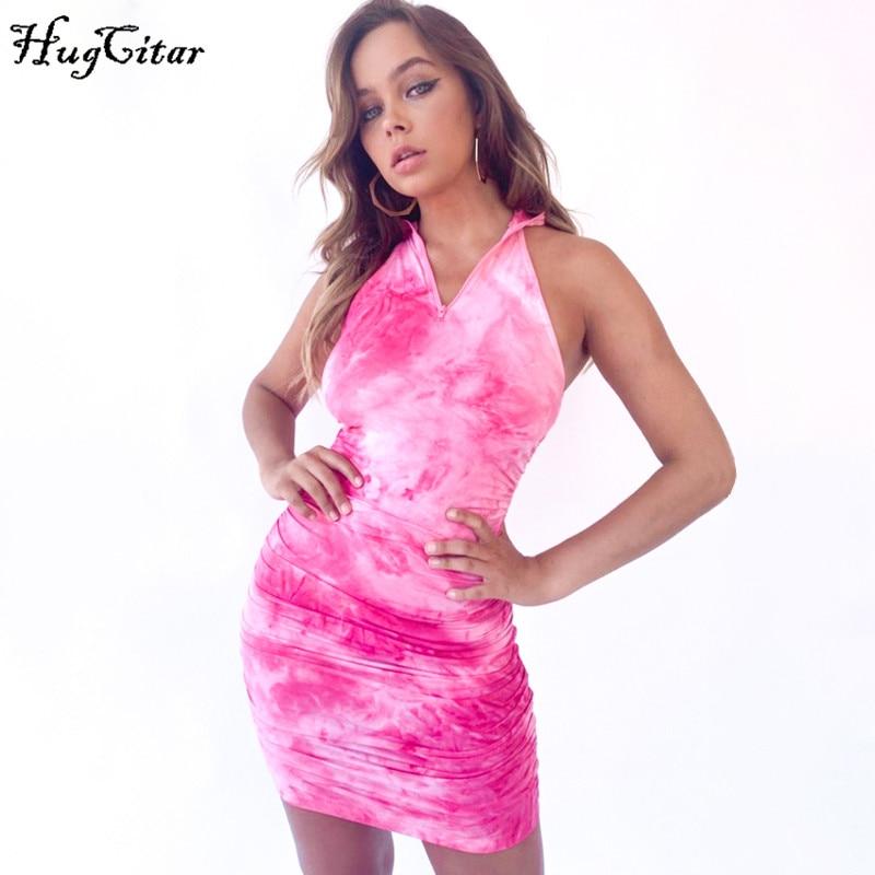 Hugcitar 2020 tie dye print sleeveless zipper high neck ruched sexy mini dress summer women fashion streetwear outfits sundress