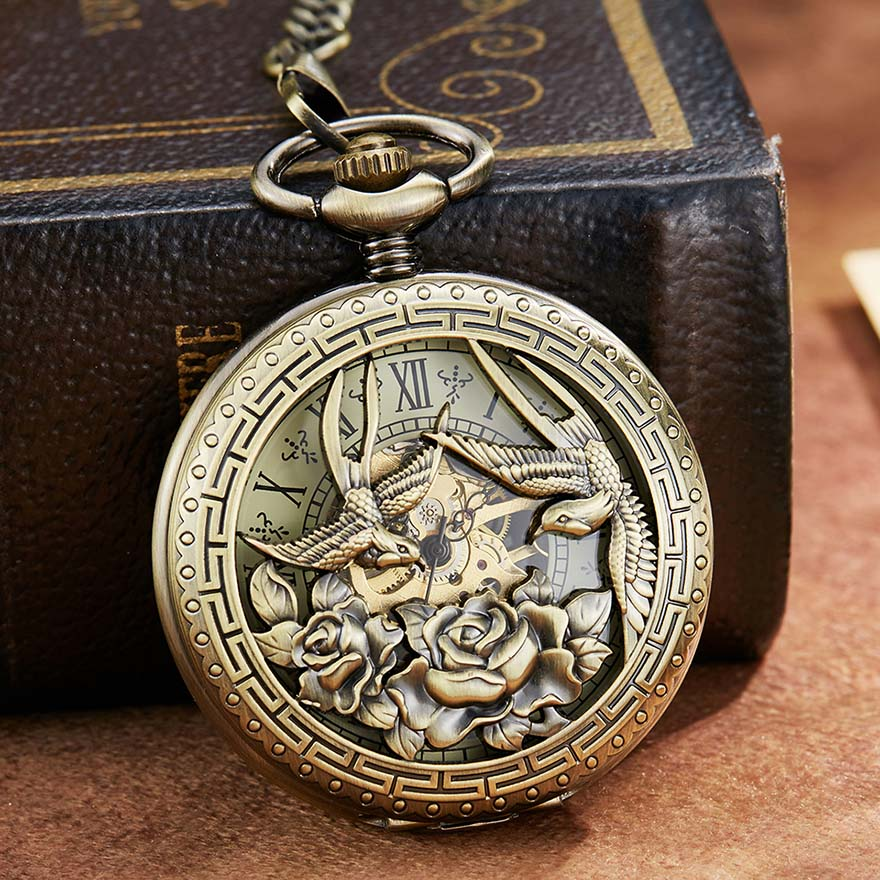 Phoenix Bird Retro Mechanical Pocket Watch With Chain Engraved Hand Winding Pendant Clock Men Bronze Sliver Flip Fob Watches