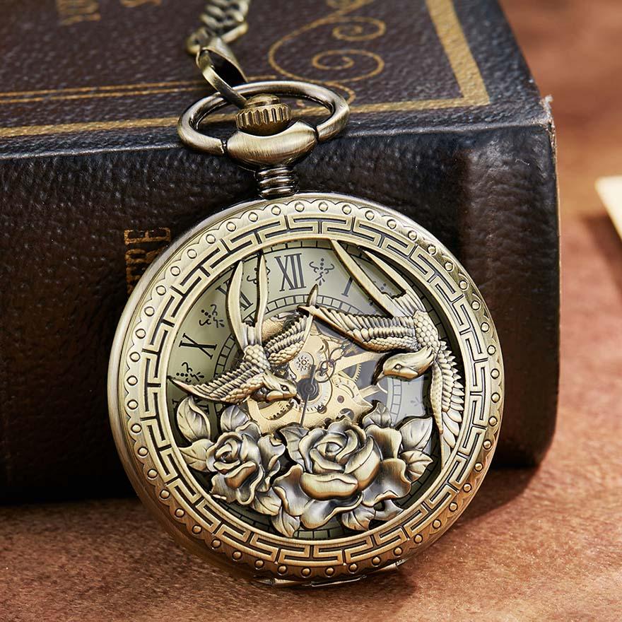 Phoenix Bird Retro Mechanical Pocket Watch With Chain Engraved Hand Winding Pendant Clock Men Bronze Sliver Flip Fob Watches