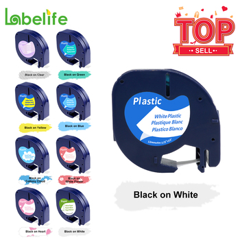 Labelife 1pcs 91200 Compatible With Dymo LetraTag Label Tape Black On White Pape 12mm LT Maker Ribbons 91330 For Label Printer