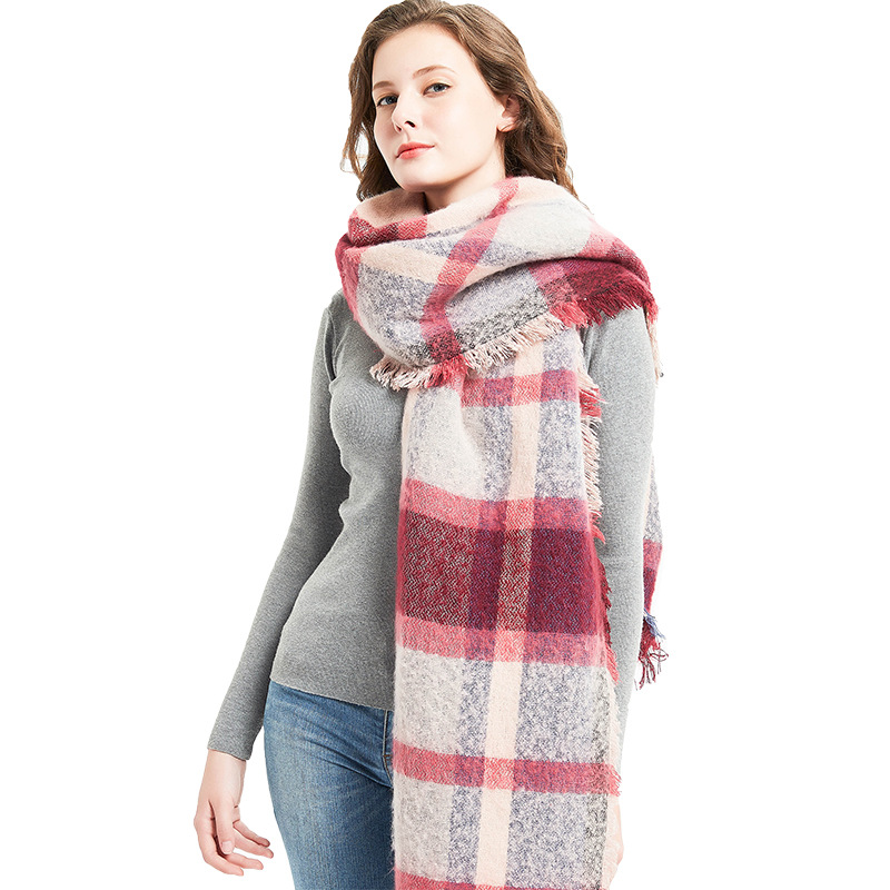 2019 European And American-Style Autumn And Winter New Style Circle Sand Oblique Plaid Scarf WOMEN'S Thick Pattern Scarf Shawl