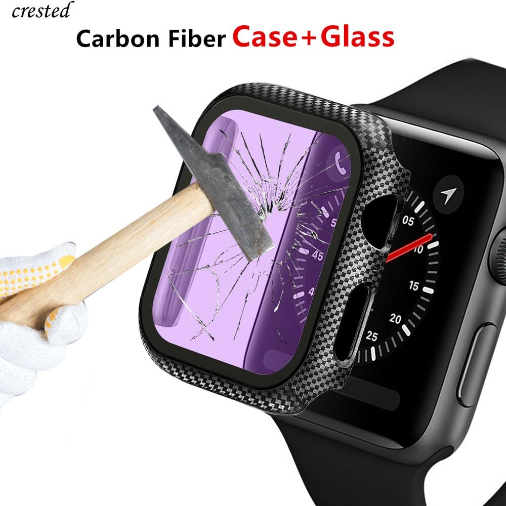 Стекло + крышка для Apple watch, чехол 38 мм 42 мм, аксессуары, бампер из углеродного волокна + Защитная пленка для экрана iWatch серии 3 4 5 6 SE 40 мм 44 мм