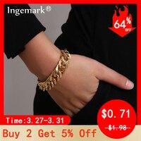 Ingemark Punk Miami Cubain Chaîne Serpent Bracelet Accessoires Mujer Boho Métal Lourd Chunky Serrure bracelets pour femme Bijoux