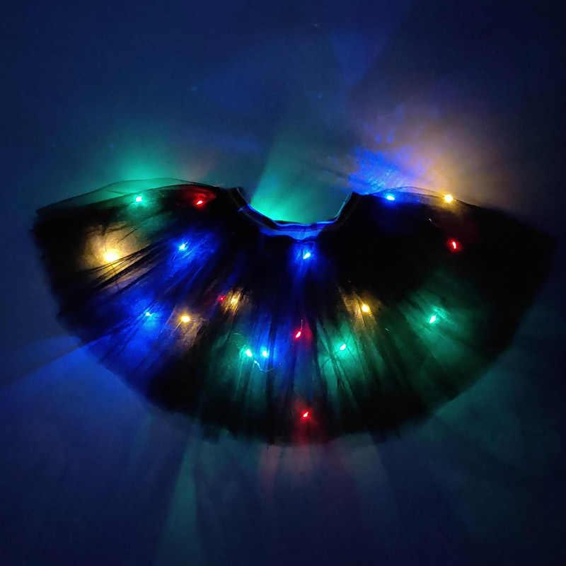 Yeni yıl noel gökkuşağı LED etek dans elbise bale moda mini kuğu örgü kostüm akşam parti dans led etek