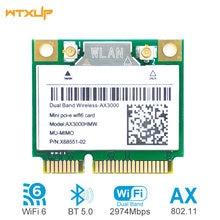 2974mbps wifi 6 ax3000 sem fio metade mini rede pci-e wlan wifi cartão bluetooth 5.0 802.11ax/ac 2.4ghz/5ghz adaptador MU-MIMO