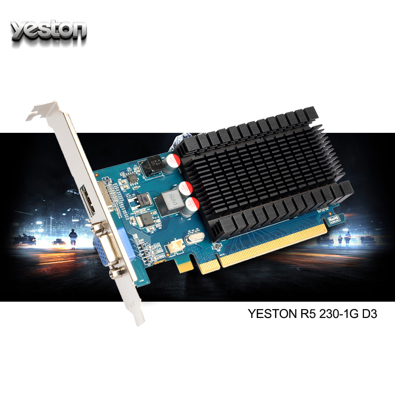 Yeston Radeon R5 230 <font><b>GPU</b></font> <font><b>1GB</b></font> GDDR3 64 bit Gaming Desktop computer PC Video Graphics Cards support VGA/HDMI PCI-E X16 2.0 image
