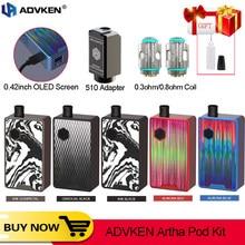 Original Advken Artha Pod Vape Kit 80W caja Mod 4,5 ML cápsula vaporizador con 510 adaptador de para ADVKEN Artha V2 RDA del Pasito
