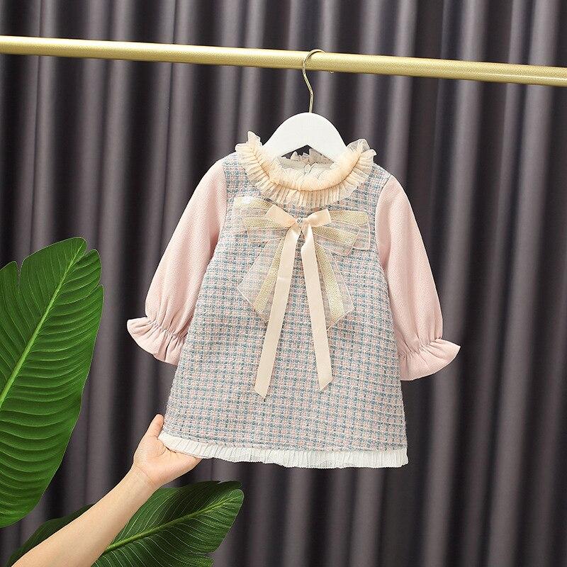 Winter Baby Girl's Sweet Bow A- line Dress Long Sleeve Princess Dress Plaid Pink with Velvet Lining Dress Kids