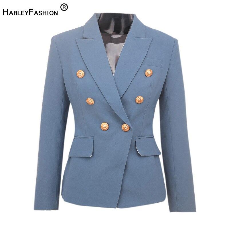 Spring Design Women Fitness Blazer Solid Color European American Quality Jacket Casual Blazer