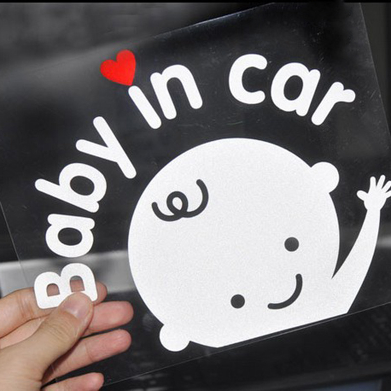 3D Cartoon Car Stickers Baby In Car Window Decal Bumper Car Sticker Reflective Warning Sticker PVC Auto Decoration Car Accessory
