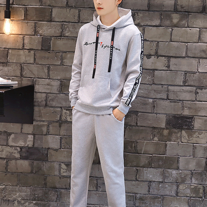 Spring And Autumn Students Hoodie Handsome A Set Of 2019 New Style Korean-style Trend Loose Casual Clothes Two-Piece Set