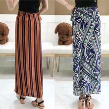 Hot Women Summer Irregular Split Bag Hip Skirt Loose Striped Bohemia Chiffon Skirt Vintage High Waist Print Lace Beach Skirts