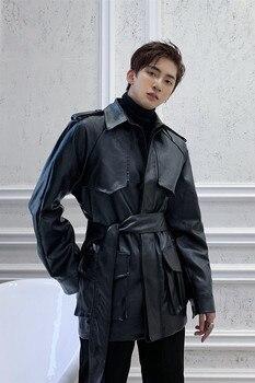 Men Streetwear Hip Hop Punk Gothic Motorcycle Jacket Fashion Black Belt PU Leather Jacket Male Faux Fur Cargo Coat Outerwear