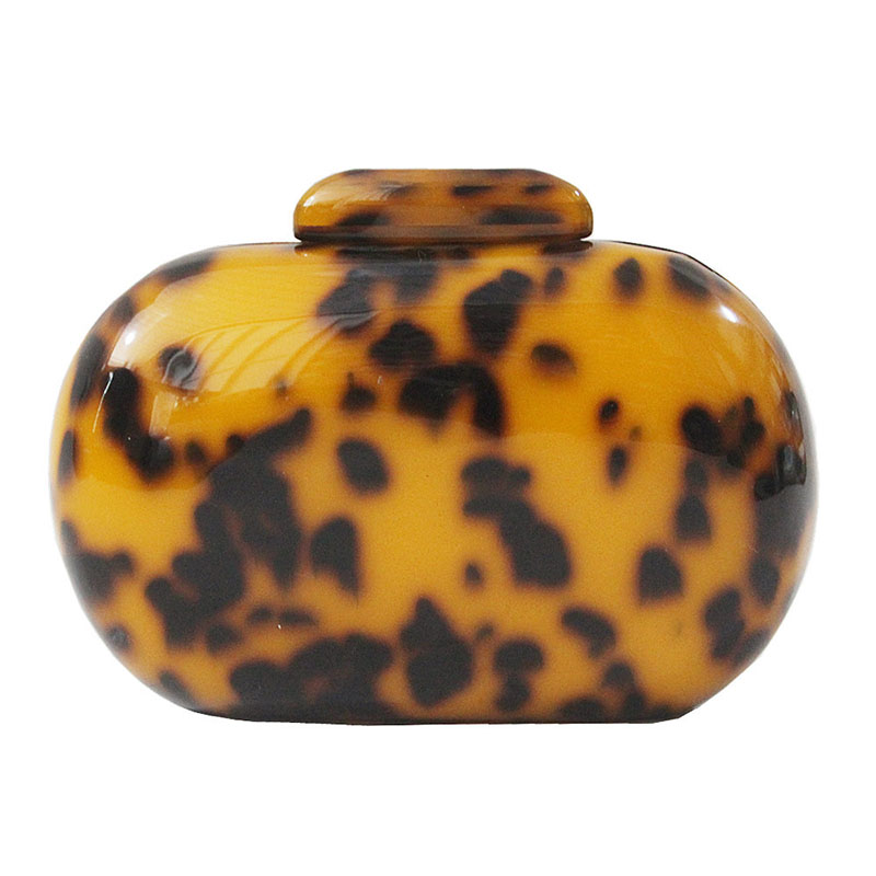 Oval Ladies Clutch Leopard Acrylic paint Open bag Lock Smooth hand Western Style Fashion evening portable