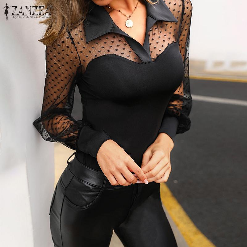 2020 ZANZEA Sexy Transparent Tops Women's Lace Patchwork Blouse Summer Casual Long Sleeve Mesh Blusas Female Lapel Top Plus Size
