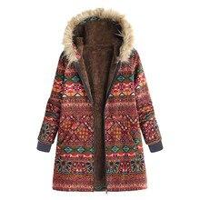 Moda mujer abrigo invierno cálido esquí prendas de vestir estampado Floral bolsillos con capucha Vintage Oversize abrigos flor estampado # G1