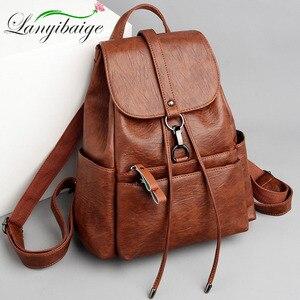 Image 1 - Fashion Women Backpack High Quality PU Leather Backpacks for Teenage Girls Female School Shoulder Bag Bagpack mochila Sac A Dos