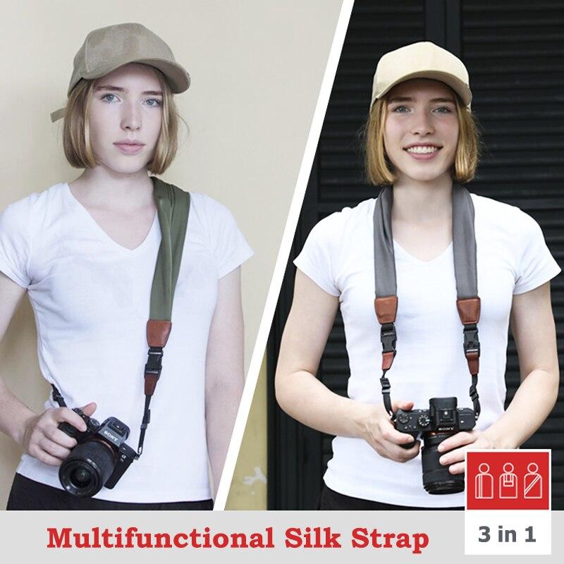Multifunction DSLR Camera accessories, Shoulder strap, Fashion silk scarf, 12 colors, Off-white