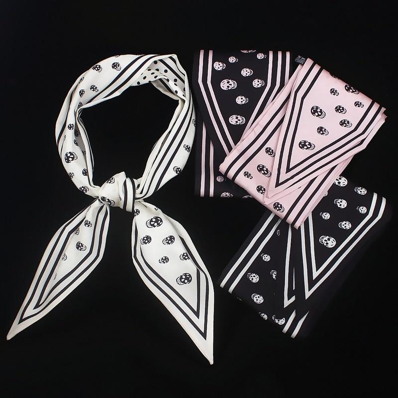 Matagorda New Skull Printing 100% Silk Twill Satin Woman Scarf Strip Shape Neckerchief Headband Triangular Binder Accessories