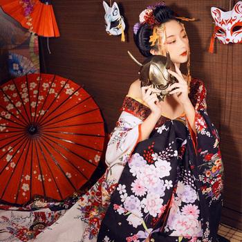 Wysokiej jakości wykonane na zamówienie japońskie Kimono zestaw kwiat śliwy przebranie na karnawał piękna kobieta seksowna sukienka wydajność Kimono tanie i dobre opinie WOMEN COTTON Linen Odzież azji i pacyfiku wyspy Pełna Tradycyjny odzieży