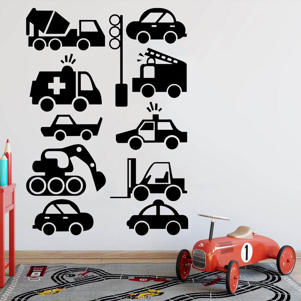 Construção veículo adesivo de parede decoração para casa berçário menino crianças quarto vinil sala de aula decalques sala estar adorno y638
