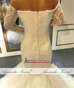 Image 3 - Vestido de novia de sirena sin hombros, mangas largas, nupciales, 2020