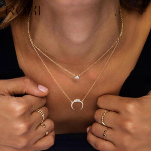 ROXI 925 Sterling Silver Maxi Long Crescent Moon Necklace Women Delicate Clear Zircon Horn Moon Pendants Necklaces Boho Jewelry