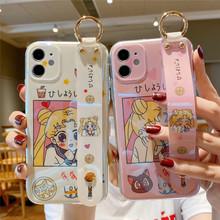Japonia Anime Cartoon Sailor Moon Luna Cat miękki futerał na telefon dla iphone 11 Pro Max X XS XR 7 8 plus 2020 SE uchwyt na nadgarstek tanie tanio CN (pochodzenie) Pół-owinięte Przypadku Apple iphone ów IPhone 7 IPhone 7 Plus IPHONE 8 PLUS IPHONE X IPHONE XS MAX