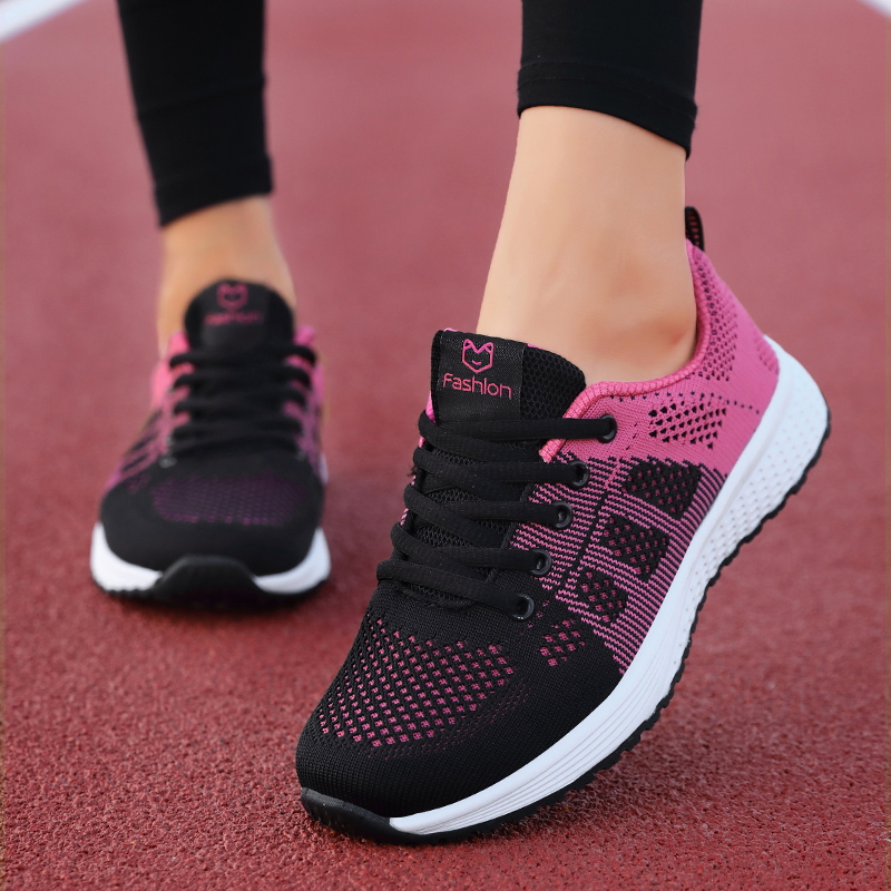 2019 New Women Shoes Flats Fashion Casual Ladies Shoes Woman Lace-Up Mesh Breathable Female Sneakers Zapatillas Mujer(China)
