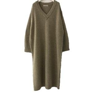 Image 5 - Belinerosa coreano estilo casual decote em v cor pura elegante solto longo vestidos de malha outono inverno camisola dressyxmz0004