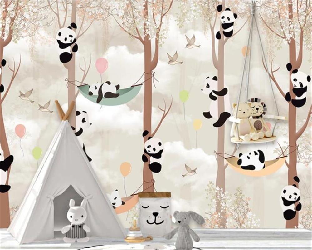 Beibehang пользовательские обои фотографии мультфильм панда дерево детская комната Детский сад фон стены декоративная Фреска 3d обои