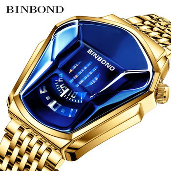 Fashion Cool Locomotive Mens Watches Top Brand Luxury Quartz Gold Wristwatch Men Waterproof Geometric Shape Relogio Masculino - discount item  40% OFF Men's Watches