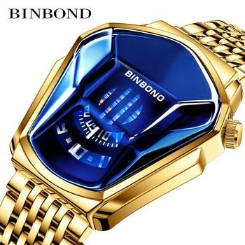 Fashion Cool Locomotive Mens Watches Top Brand Luxury Quartz Gold Wristwatch Men Waterproof Geometric Shape Relogio Masculino