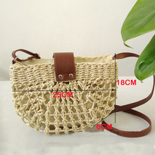 New Women Straw Bags Handmade Crocheted Hollow Semicircular Shoulder Bag Retro Wild Messenger Bag Bohemian Vacation Beach Bag crocheted wild animals
