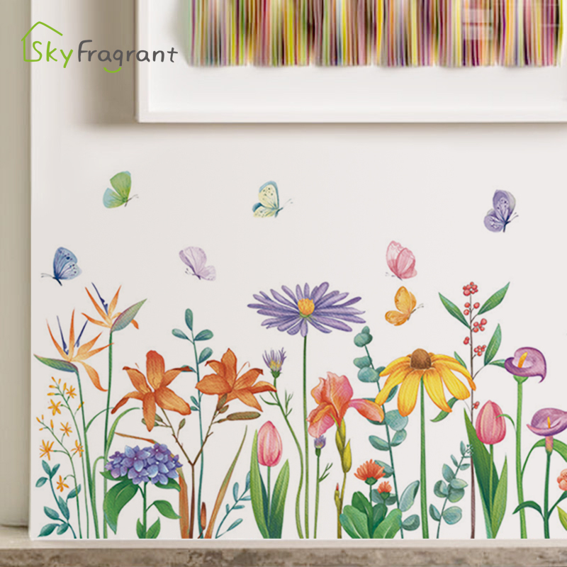 Pastoral flowers home decor stickers <font><b>skirtings</b></font> self-adhesive small fresh art wall sticker bedroom sticker living room wall decor image