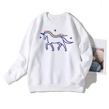 Simplicity Aesthetic Unicorn Printed Women Cartoon Hoodies Ulzzang Clothing White Long Sweatshirts Streetwear American Apparel фото