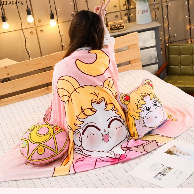 2 In 1 Cute Sailor Moon Tsukino Usagi Magic Array Plush Toys Soft Stuffed Air Conditioning Warm Cushion Pillow With Blanket Gift